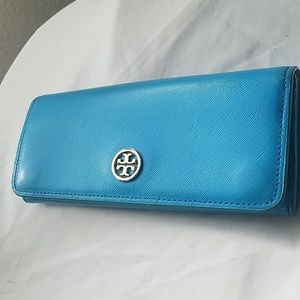 Tory Burch Blue Leather Envelope Wallet
